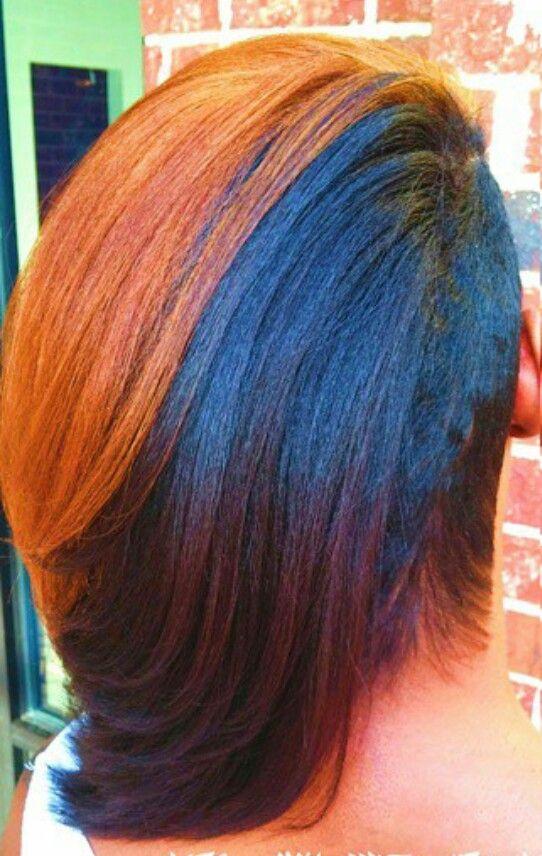 two tone brown dyed hair urban