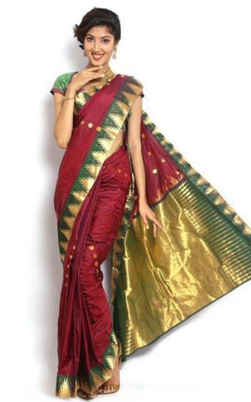 Maroon Color Kanchipuram Pure Silk Saree With Green Golden Border