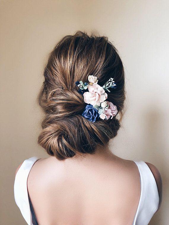 Navy Hair pins flower b52af8d49a5