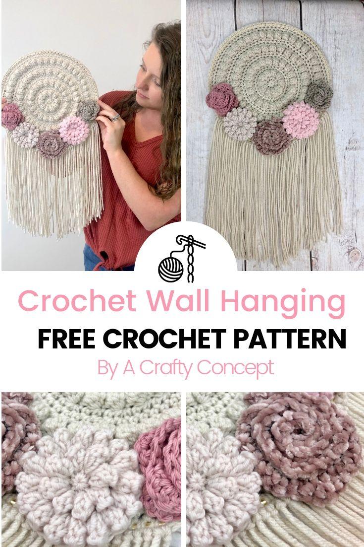 Photo of Crochet Floral Wall Hanger- Free Crochet Pattern