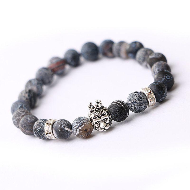 Vintage Charms Beads Rhinestone Lion Head Pendant Bracelet Fashion Crystal Natural Stone Punk Bracelets Women Fine Jewelry G031