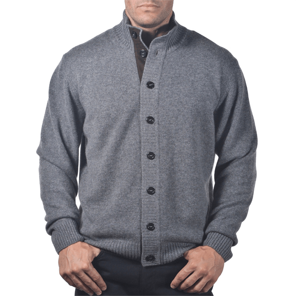 Gray cashmere cardigan for men made in Italy. An amazing discount ...