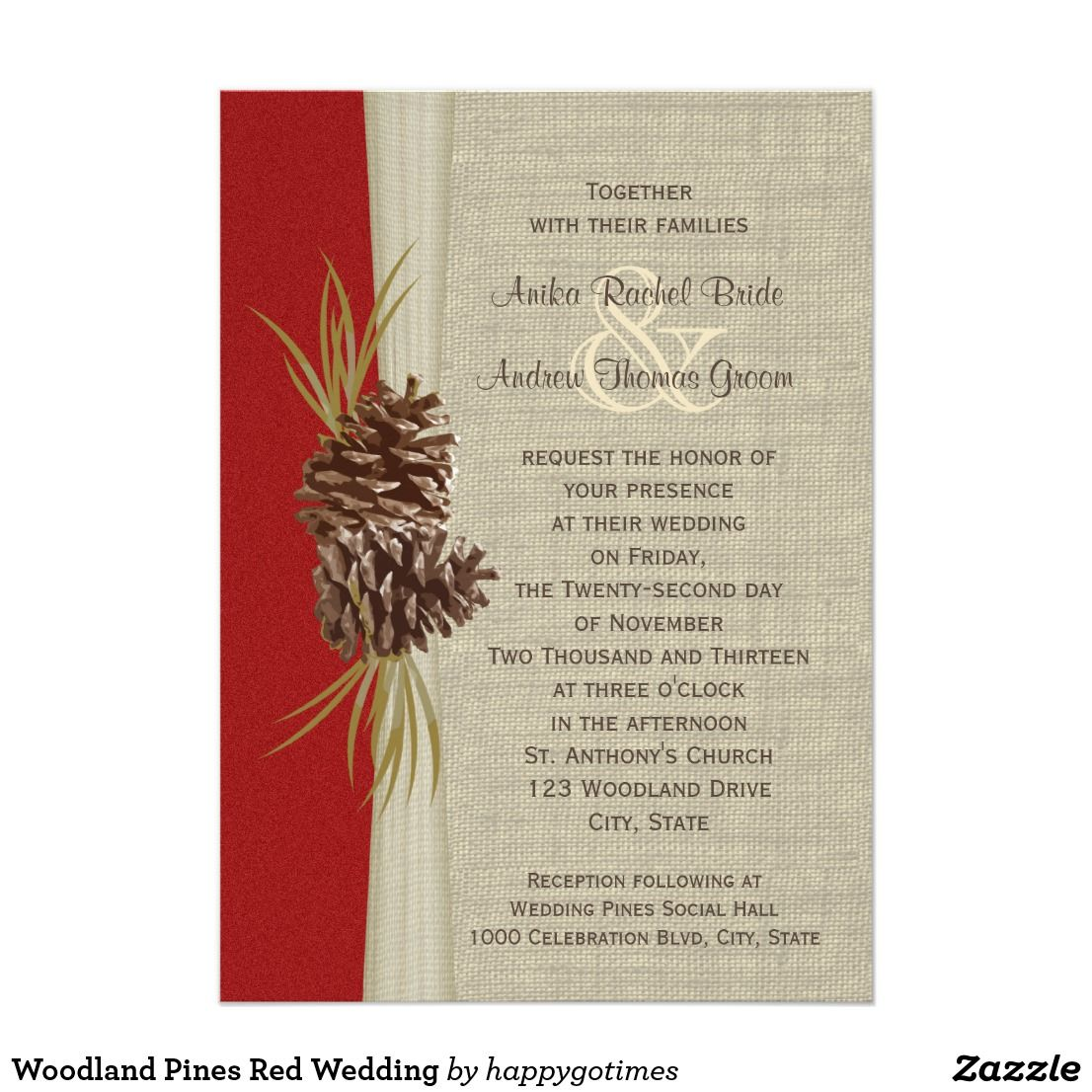 Woodland Pines Red Wedding Card Woodland Pinecones and burlap look ...