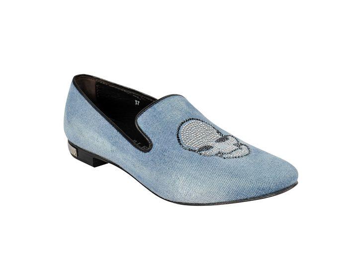 (1) Womens Moccasins Denim Cherub Embellished Skull Jewels Flat Loafers - Philipp Plein 2013 Spring Summer Denim Shoes Top Footwear Picks