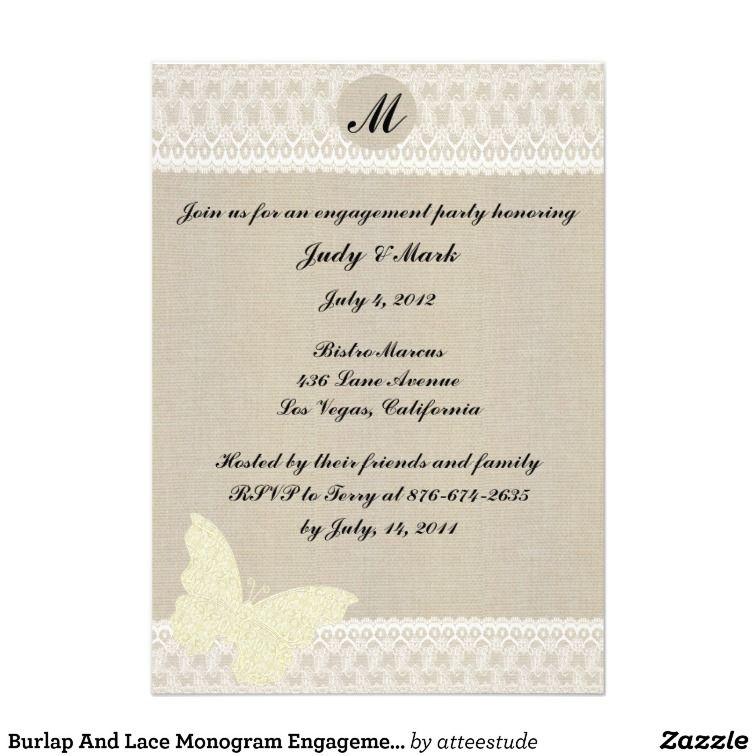 Burlap And Lace Monogram Engagement Party Invite   Burlap ...