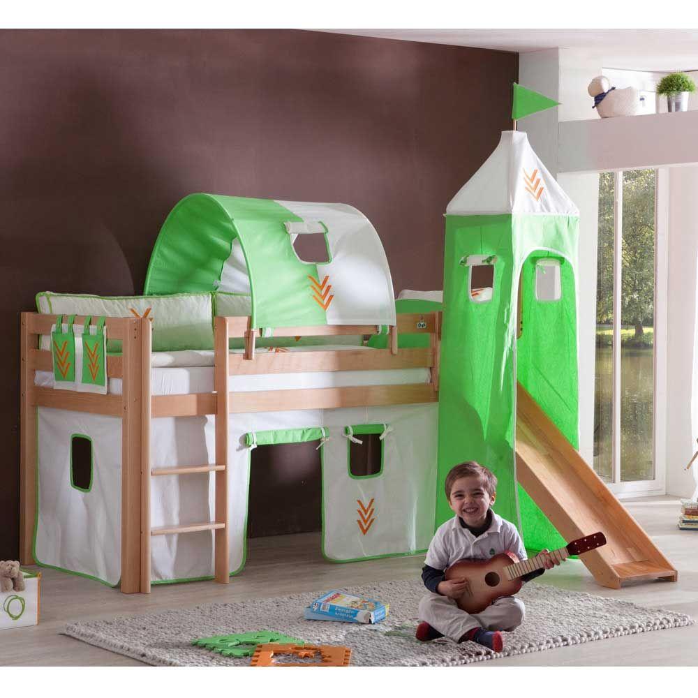 Kinderhochbett  Kinderhochbett mit Tunnel Buche Massivholz Jetzt bestellen unter ...