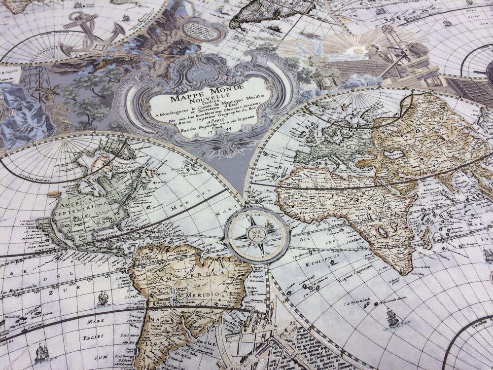 1 Yard Renaissance Man Gray World Map Fabric From Kanvas #Kanvas
