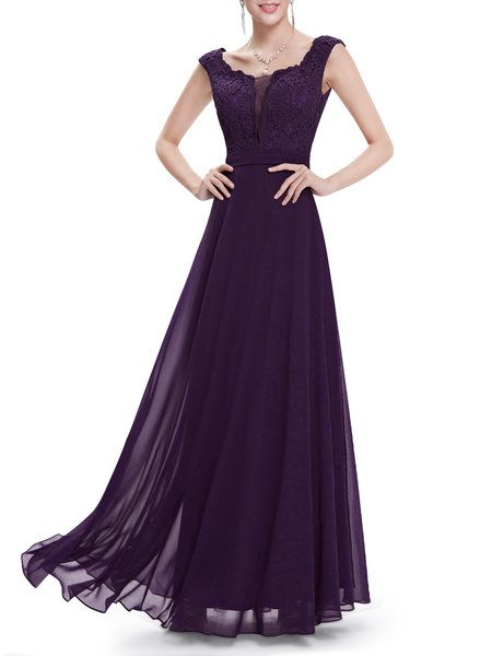 Shop Maxi Dresses - Dark Blue Paneled Floral Scoop Neckline Elegant Evening Dress online. Discover unique designers fashion at StyleWe.com.