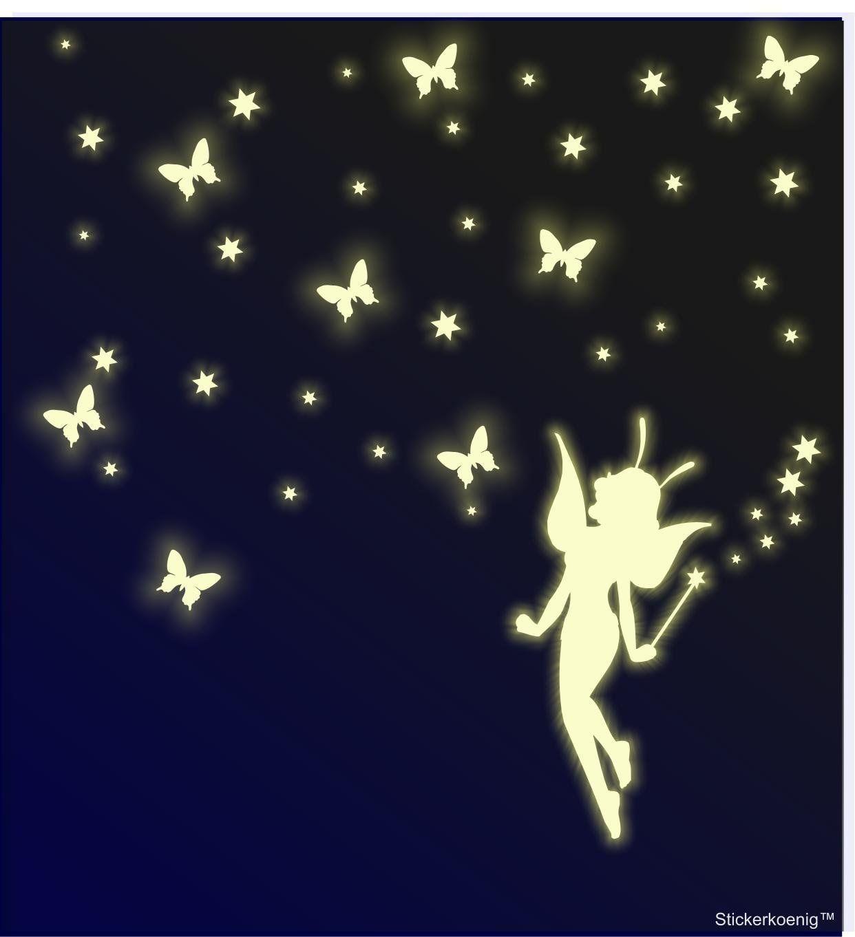 Kinderzimmer Wandtattoo Leuchtsticker Grosse Fee Elfe Xxl Mit Schmetterlingen Sternen Sternenhimmel Leuchtpunkte Leuchts Kinder Zimmer Kinderzimmer Wandtattoo