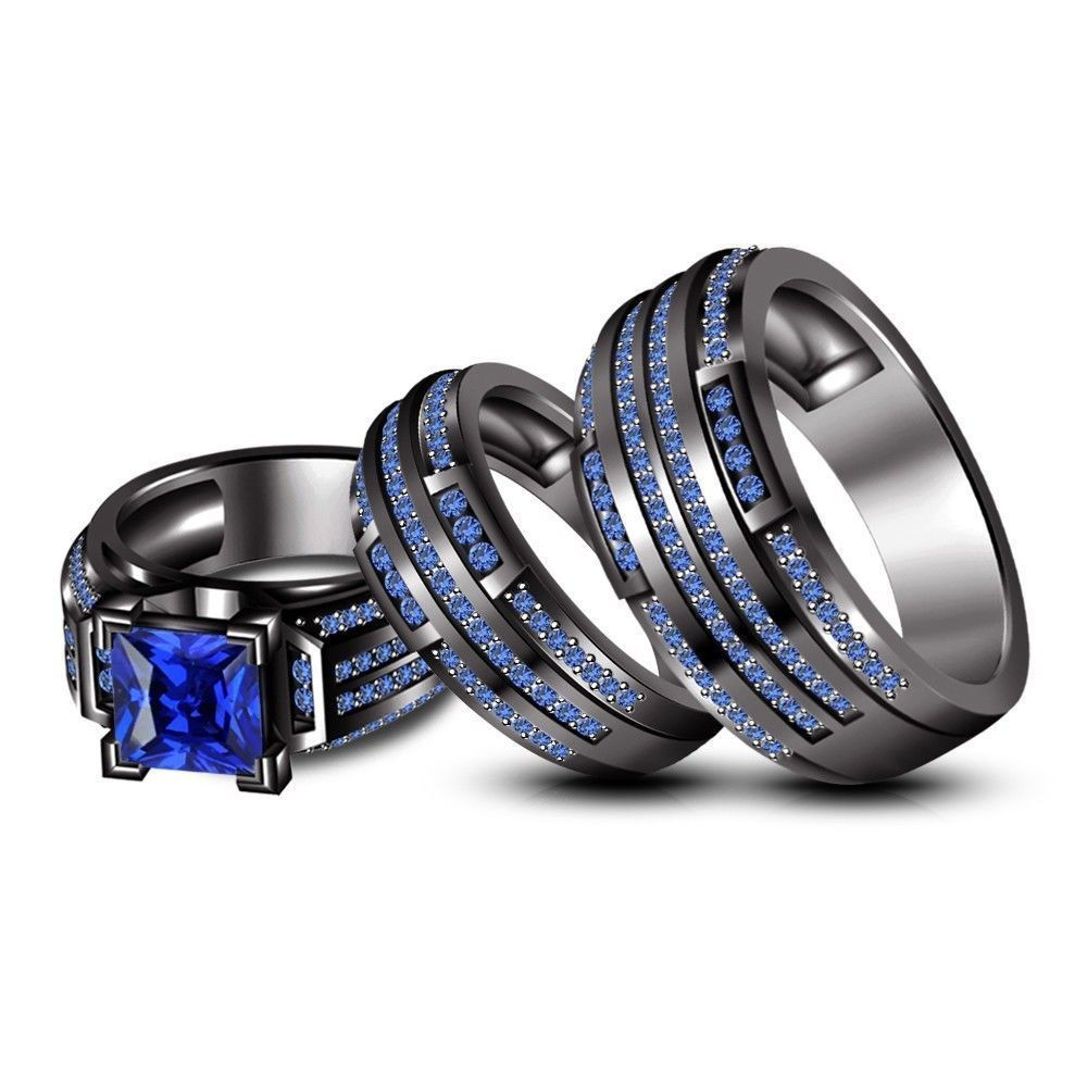 Blue Sapphire Trio Wedding His & Her Ring Band Set Black Gold On 925  Sterling