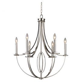 "Polished nickel chandelier with laser-cut oval accents.    Product: Chandelier    Construction Material: Metal    Color: Polished nickel   Features:    Laser-cut oval accents     Will enhance any decor    Accommodates: (6) 60 Watt bulbs - not included     Dimensions: 31"" H x 25"" Diameter"