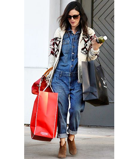 @Who What Wear - Rachel Bilson                 Style: Girly  On Bilson: Isabel Marant x H&M sweater; Zara Denim Jumpsuit ($198)