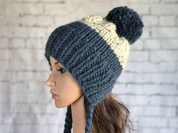 366ad2625a5 Tassel Knit Hat   Split Brim Hat with Pom Pom   Chunky Knit Hat   Women s  Winter Hat   Warm Cozy Knitted Hat   Women s Toque  Women s Beanie