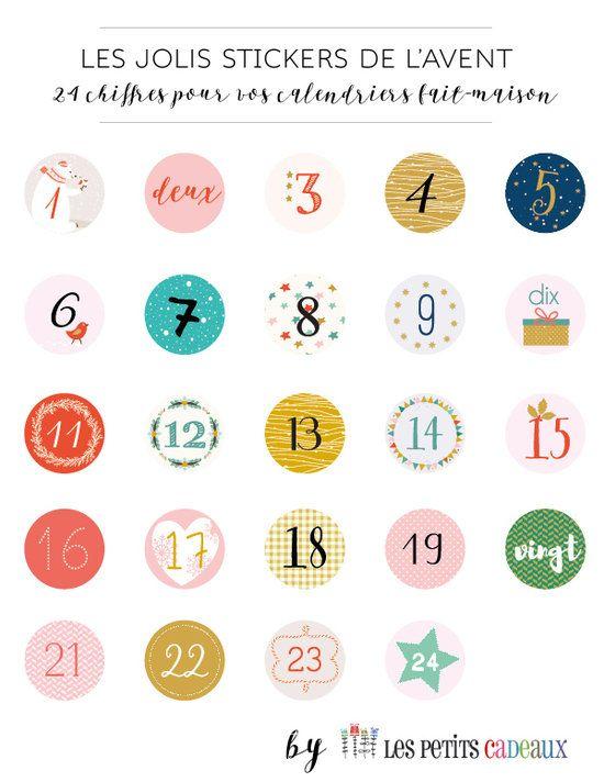 24 tiquettes num rot es pour le calendrier de l 39 avent no l diy advent calendar. Black Bedroom Furniture Sets. Home Design Ideas