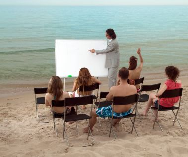 Learning on the beach: For those with money that want to learn on a private beach...here comes your education!