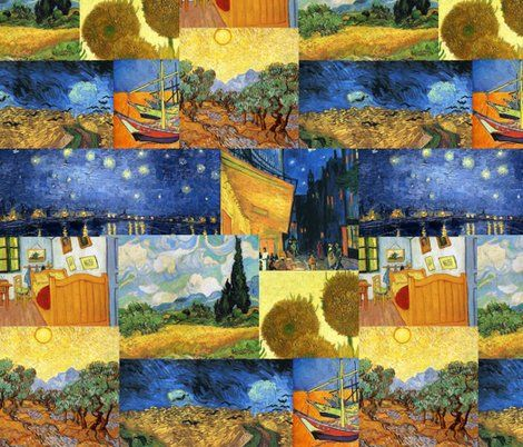 A Compilation Of Van Gogh Paintings In Fabric Design Myb Art