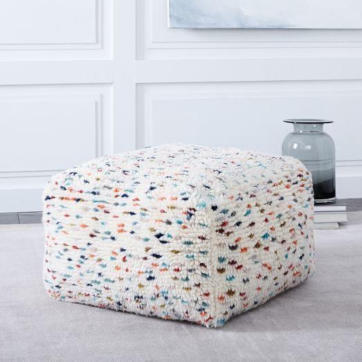 Confetti Shag Pouf Artistic Home Home Decor Furniture Extraordinary West Elm Pouf Review