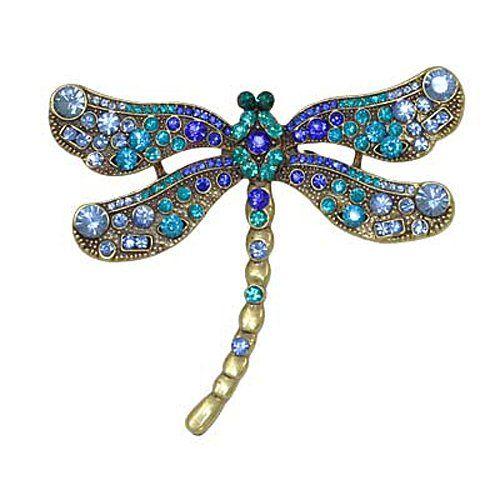 Vintage Superb Art Deco Dragonfly Pin Sterling Silver Peridot Amethyst Citrine