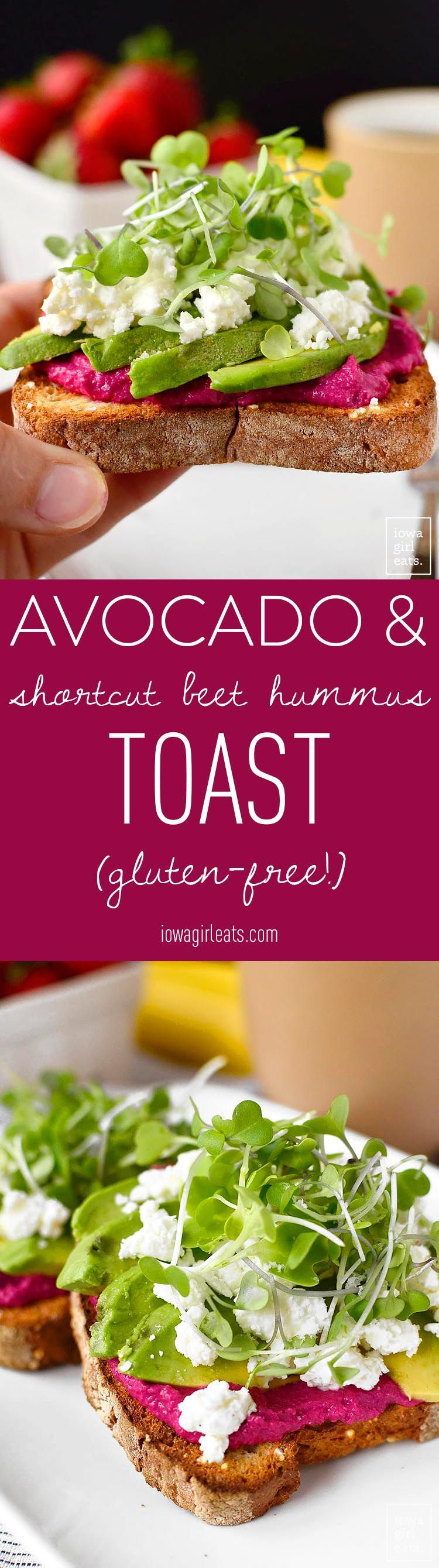 Avocado and Shortcut Beet Hummus Toast is a nutritional powerhouse! Eat for breakfast to power through your morning, or anytime you need a boost. Easily made gluten-free, too!   iowagirleats.com