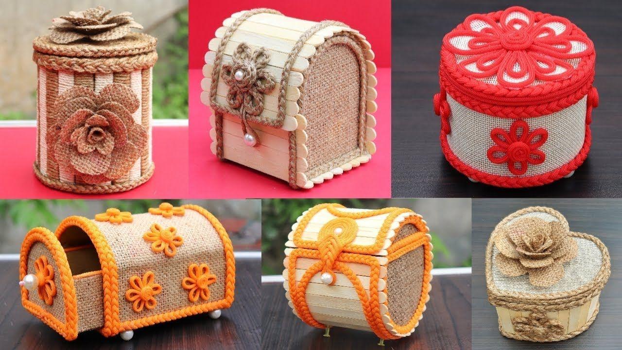 6 Beautiful Jewelry Box With Jute Popsicle Sticks And Cardboard Diy J Jewelry Box Design Jewelry Box Diy Easy Diy Jewelry
