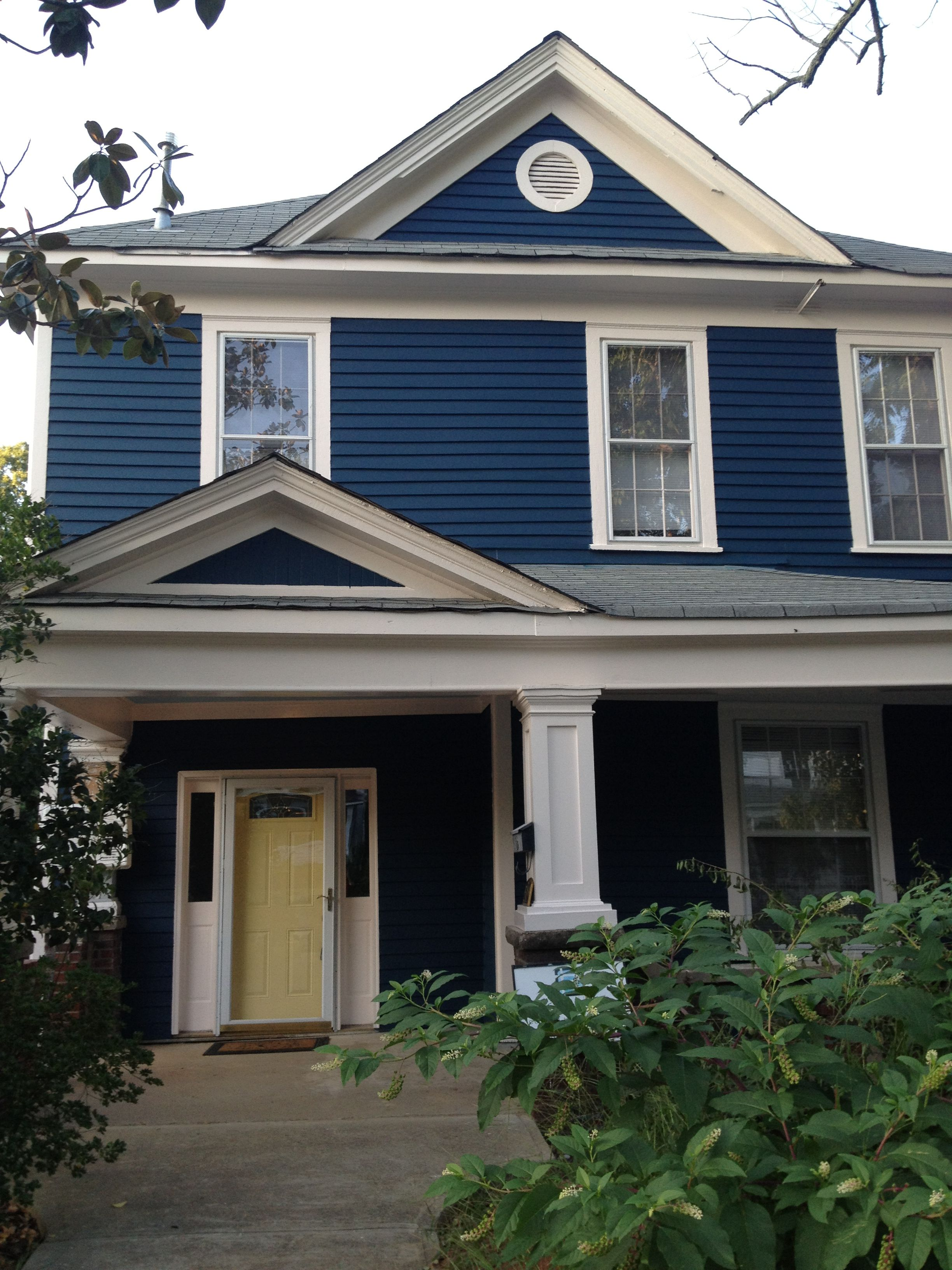 Exterior Home House Design: Just Went To Pin A Blue House With Yellow Door And