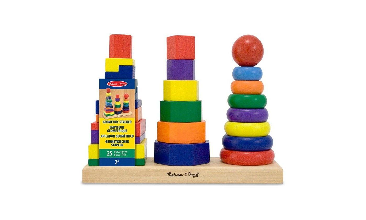 Melissa Doug Geometric Stacker Wooden Educational Toy Wooden Educational Toys Educational Toys Helping Kids