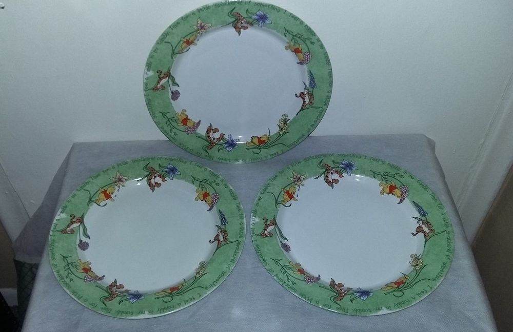 Disney Winnie Pooh Tigger 11\  Stoneware Dinner Plate Set Smakarel Rumbly Tumbly : disney dinner plates - pezcame.com