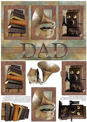 Antique Items A5 Decoupage Card Front Dad on Craftsuprint designed by Emma Winnell - This vintage themed step by step design features an antique phone, a gramophone and some old books. This would be perfect for Father's Day or as a birthday card for a Dad. This design is made to mat and layer neatly onto an A5 card blank. Please See below for the matching insert. - Now available for download!