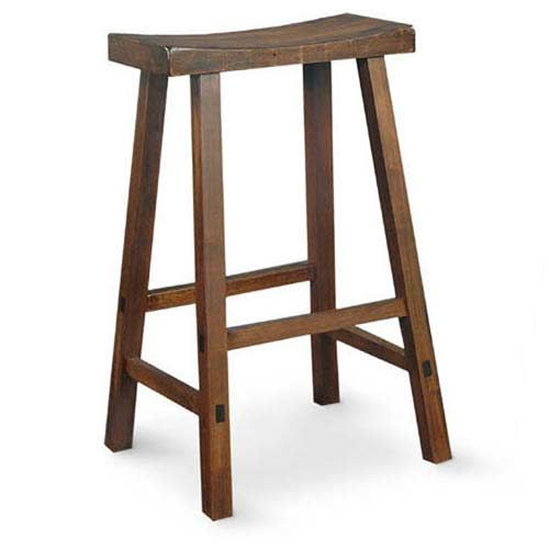 Walnut 29 Inch Saddle Seat Wood Bar Stool International Concepts Bar