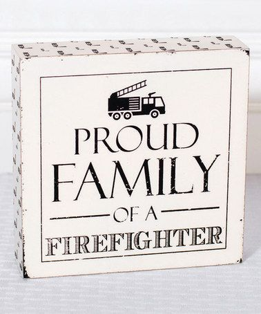 Loving this Firefighter Family Block Sign on #zulily! #zulilyfinds