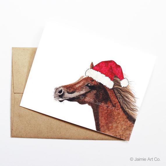 Christmas Card - Horse, Cute Christmas Card, Animal Christmas Card