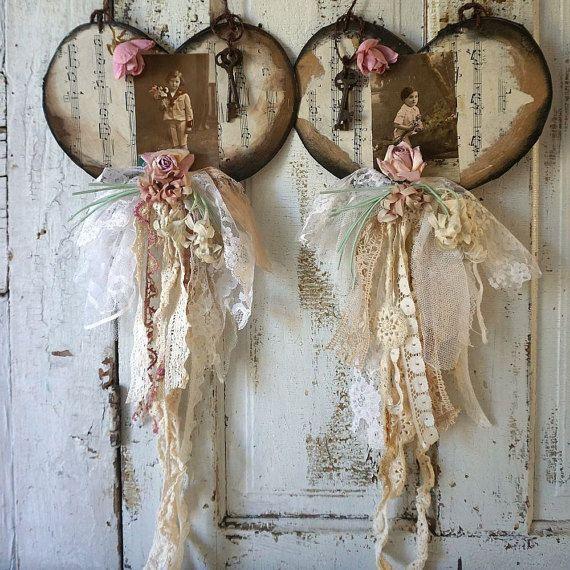 Embellished paper heart wall hanging set by AnitaSperoDesign