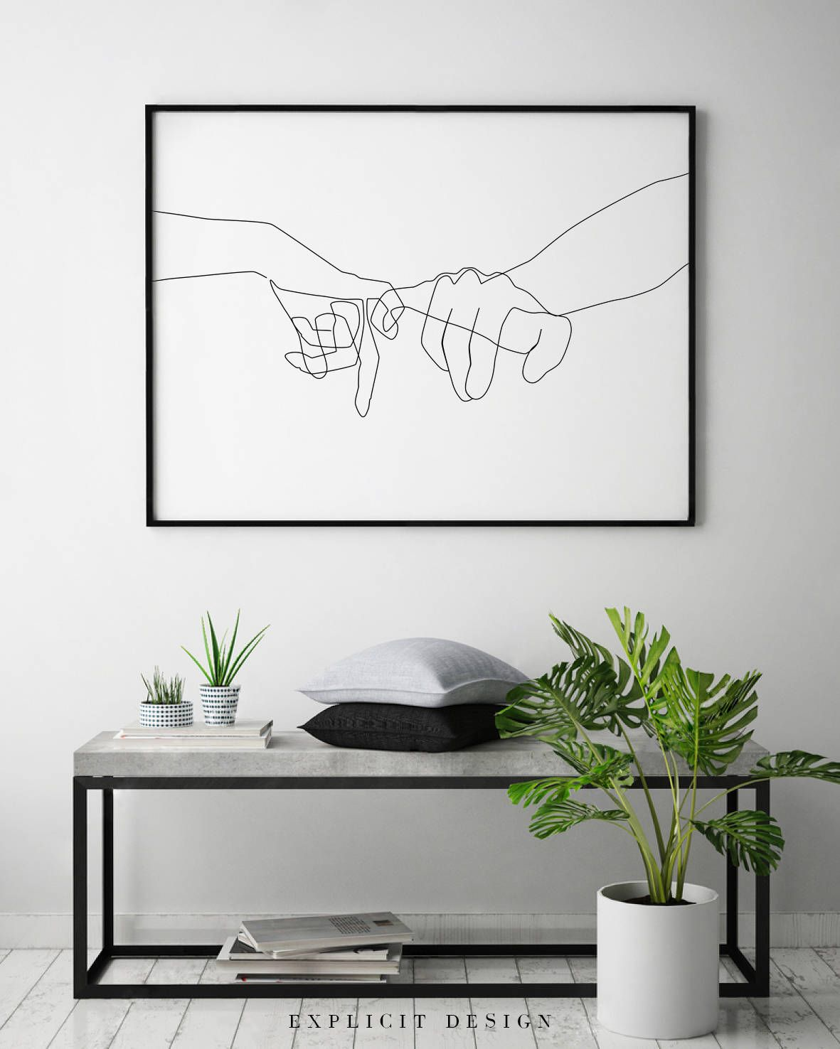 Pinky Swear Printable One Line Drawing Print Black White Etsy In 2021 Art Decor Drawing Prints Minimalist Home
