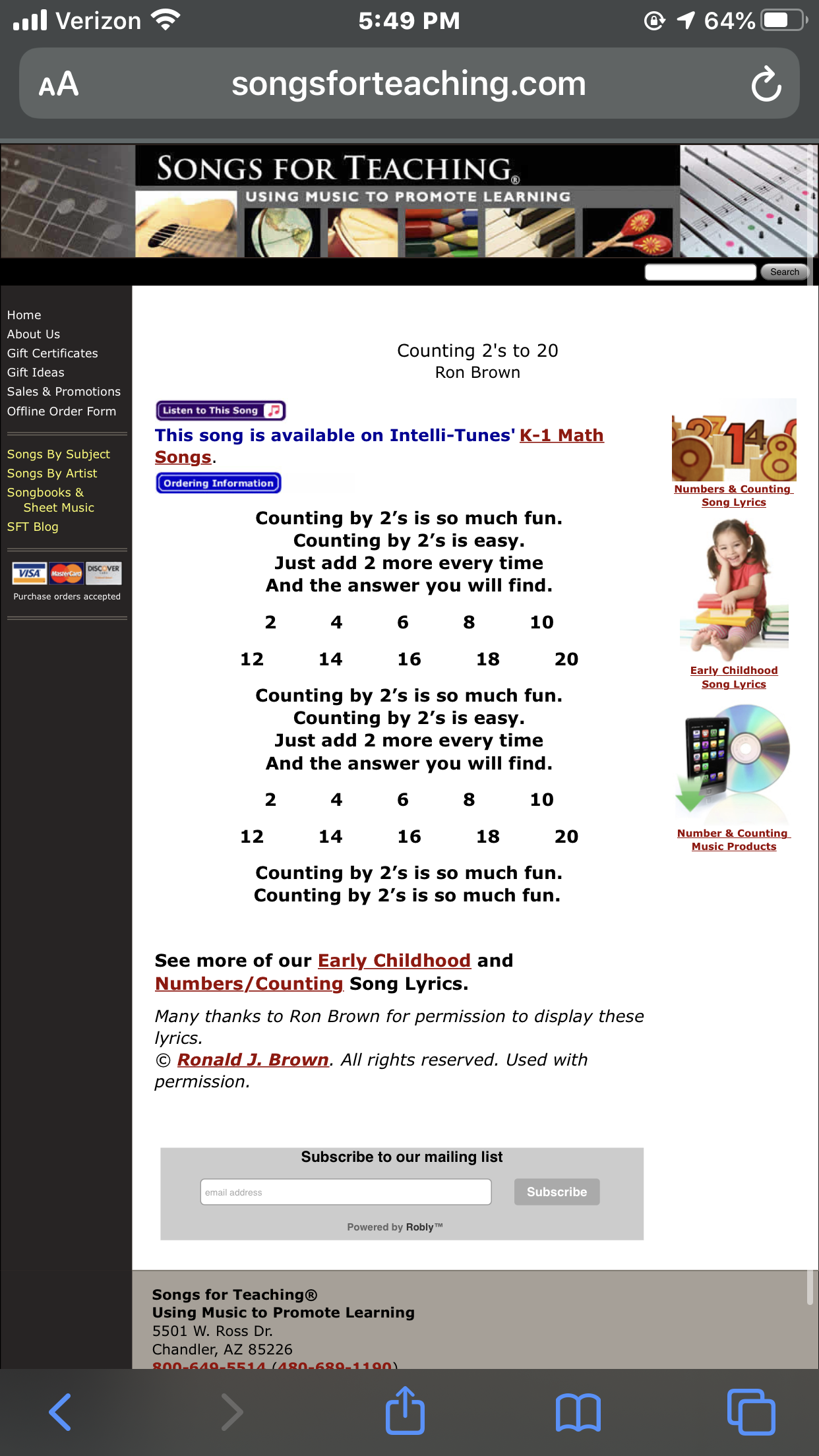 This Counting By 2s Math Song Would Be Good To Do As Large