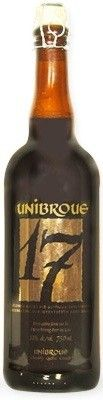 Cerveja Unibroue 17, estilo Belgian Dark Strong Ale, produzida por Unibroue, Canadá. 10% ABV de álcool.