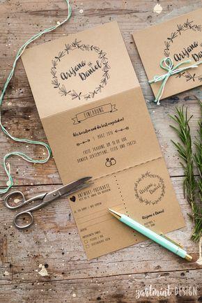 Hochzeitspapeterie | Hochzeitseinladung Kraftpapier Rosmarin ♥  Illustration, Symbole, Icons, Wreath, Kranz,
