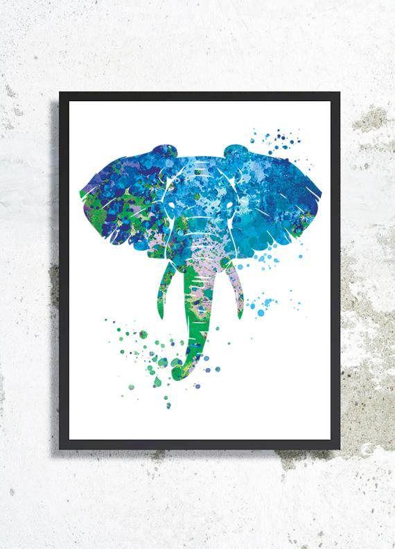 Elephant Watercolor Art Print Elephant Painting Elephant Poster
