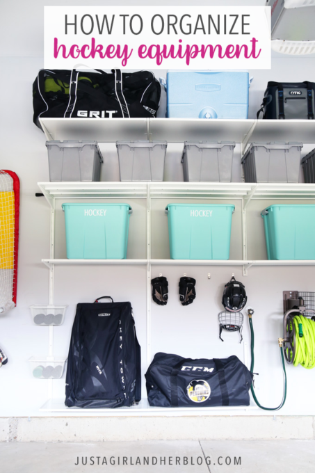 Learn How To Organize Hockey Equipment Easily And Minimize The Smell Of Stinky Hockey Gear Too Hockey Equipment Storage Hockey Equipment Garage Organization