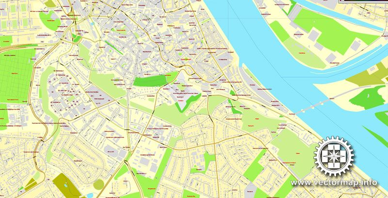 Mainz Wiesbaden Germany printable vector street map City Plan