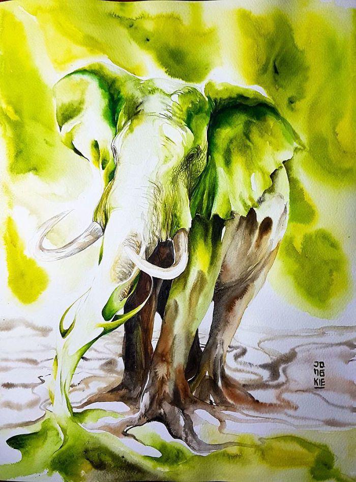 I Create Animal Spirits Trough Watercolor In 2020 Elephant Art