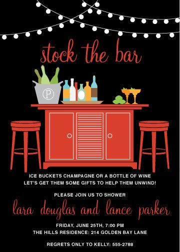 Stock the Bar Couples Shower Invitation - if wedding location lets - office bridal shower invitation wording