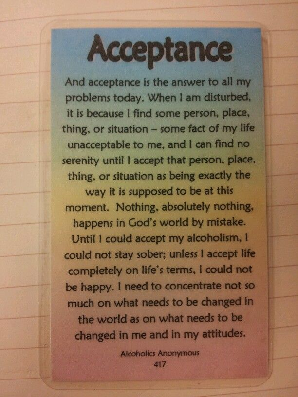 Acceptance is the key big book
