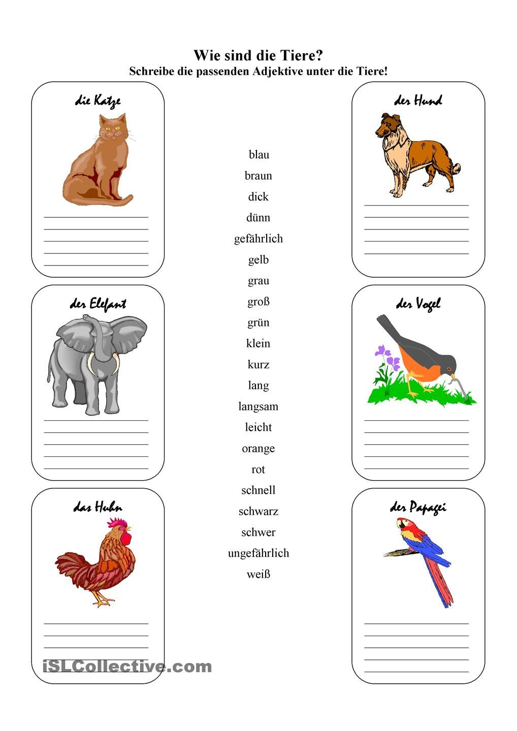 wie sind die tiere animals teacher worksheets learn german und german language. Black Bedroom Furniture Sets. Home Design Ideas