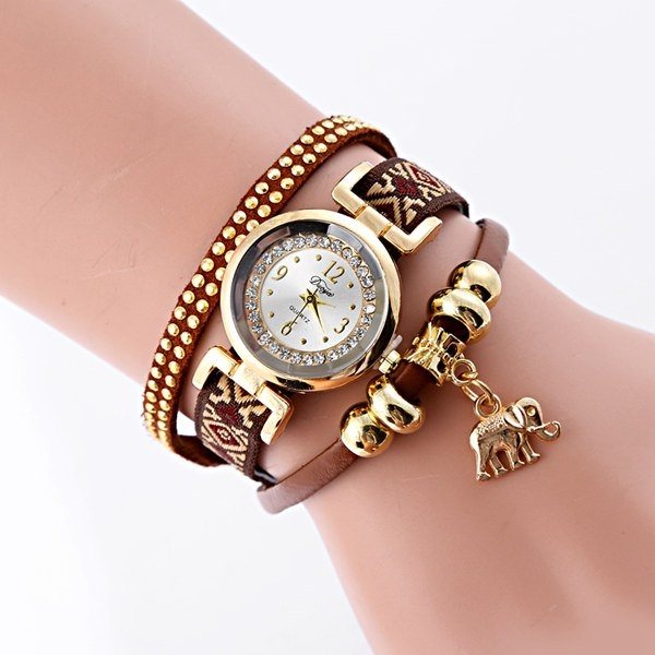 5.4$  Buy here - http://diyid.justgood.pw/go.php?t=198955403 - Faux Leather Elephant Rhinestone Bracelet Watch