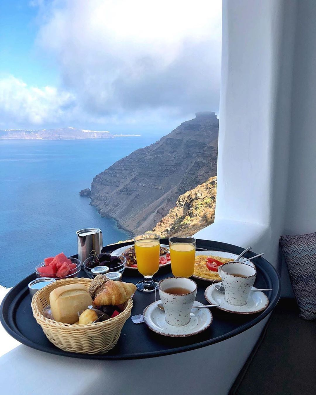 Dream Now Travel Later Breakfast In Santorini By Thehoteltrotter Follow The Instructions Please Stay In 2020 Breakfast Tea Best Breakfast Travel Eating
