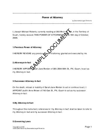 Printable Sample Power Of Attorney Template Form | Real Estate