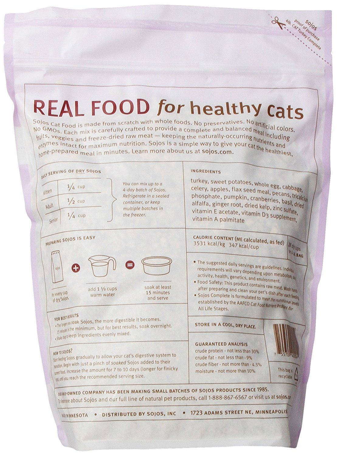 Sojos Complete Raw Natural Dry Cat Food Mix *** Find out