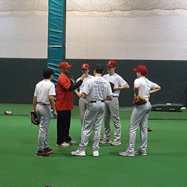 Itz Winter Workouts Coach Taylor Talking With A Group Of Infielders Winter Workout Baseball Softball Softball
