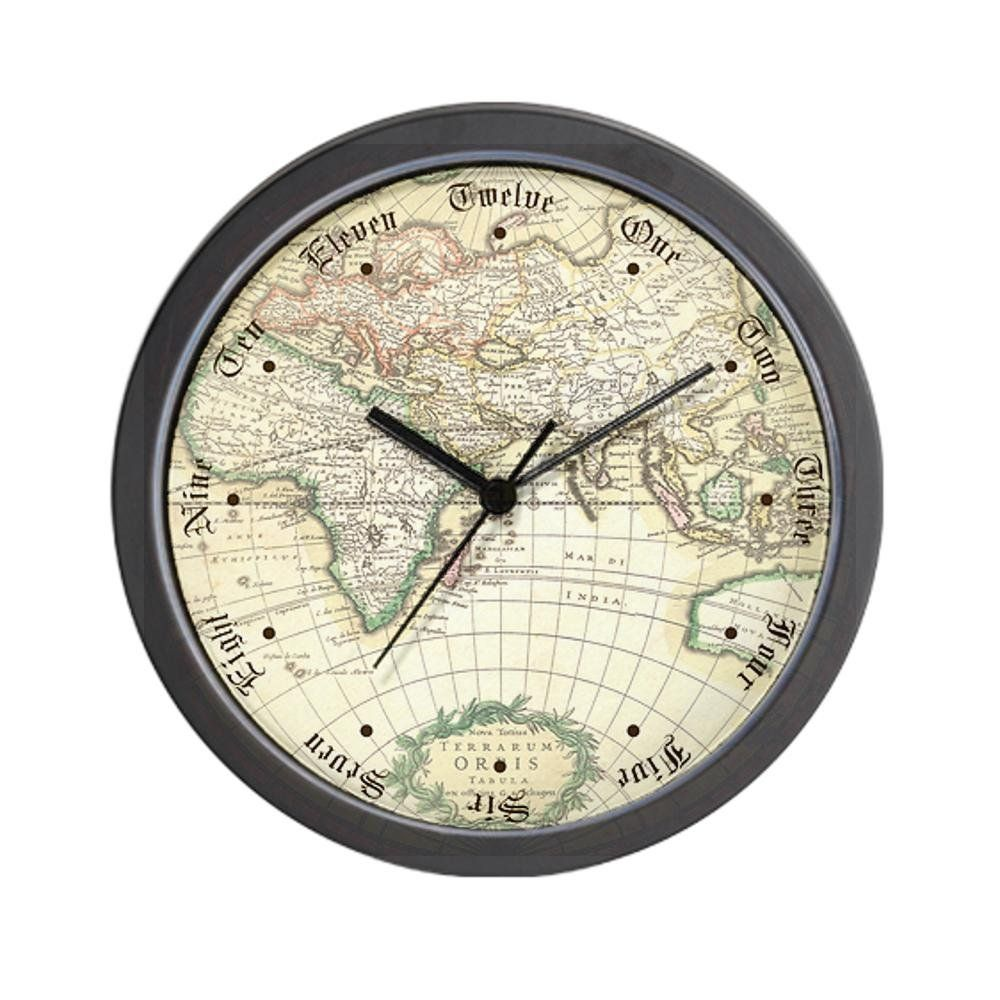 cafepress old world antique map wall clock