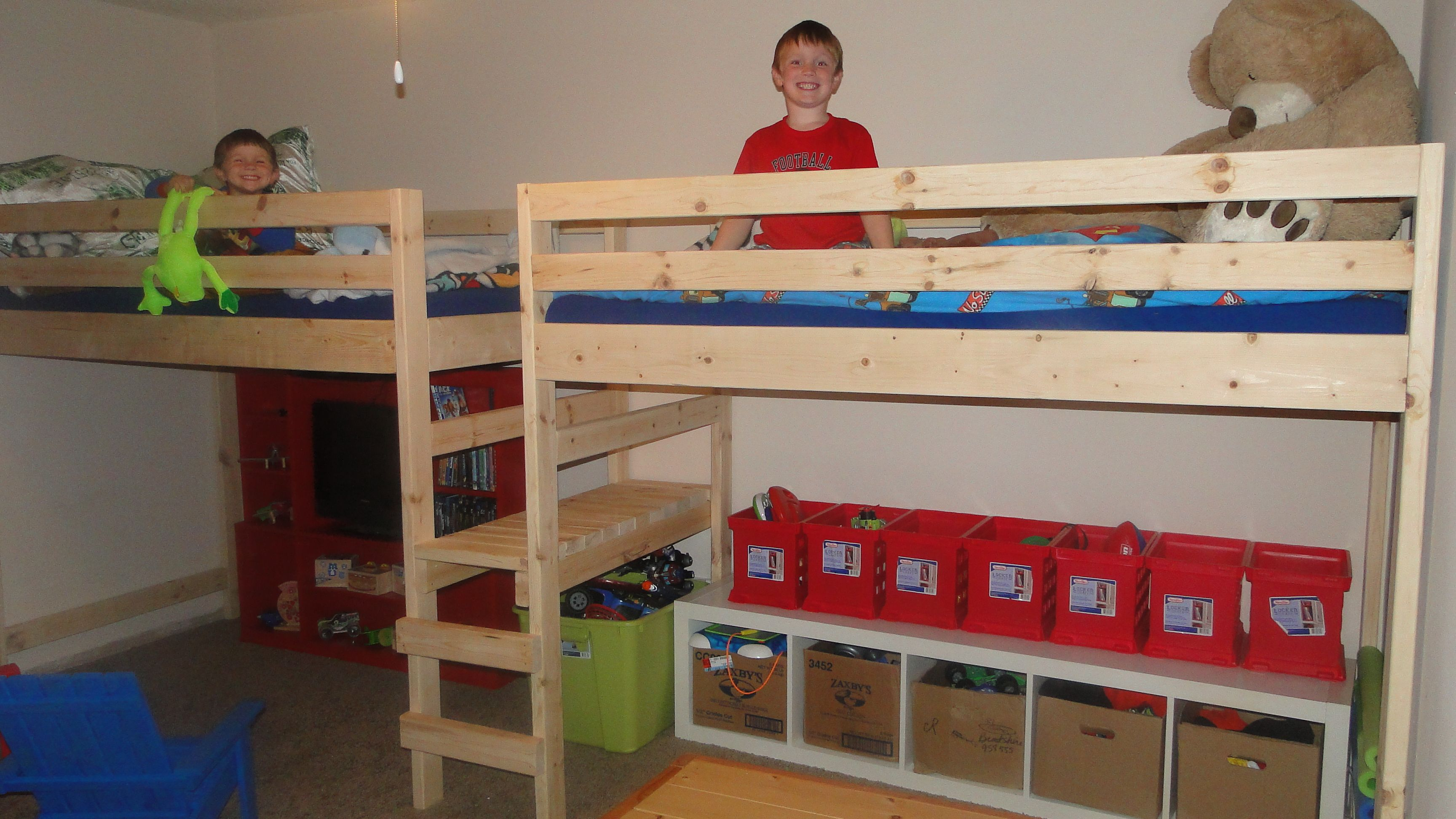 Loft bed with slide screws  Double Twin Camp Loft Bed I made for my boys  Kids room